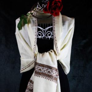 Schall aus Wolle für Damen, handgewebt, handgestickt