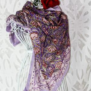 Großes Tuch Veilchen Lila, Handdruck
