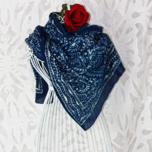 Großes Tuch Handdruck Indigo - Blau