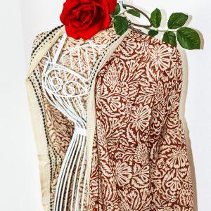 "Tuch ""Henna"", 110 x190 cm, Handdruck, Rot"