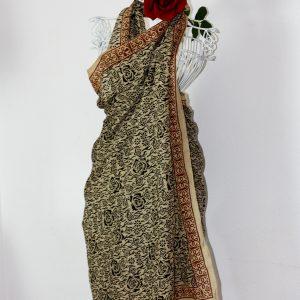 """Tuch """"Henna"""", 110 x190 cm, Handdruck, Schwarz"""