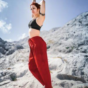 Hose Kalima , leichte Baumwolle, unifarben in Rot