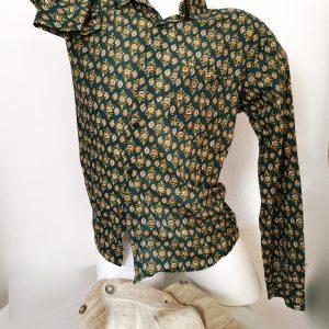 Herren Hemd, Handdruck Grün