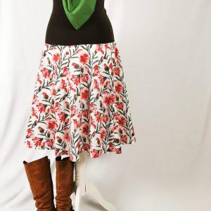 """Rock """"Lilly"""" weiß, rot, grün mit großen Blumen, Handdruck"""