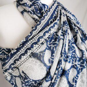 Maxi Tuch Blau Weiß -Handdruck