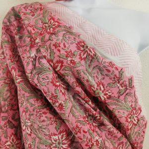 "Tuch ""Masha"" rosa , Handdruck"