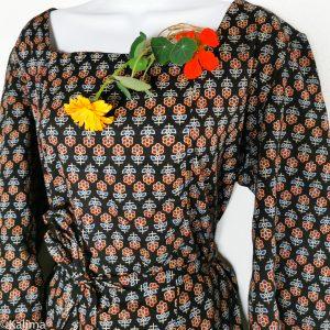 """Blusenkleid """"Indian Summer"""" Trapez Ausschnitt ,Herbstfarben, Handdruck auf 100%Baumwolle"""